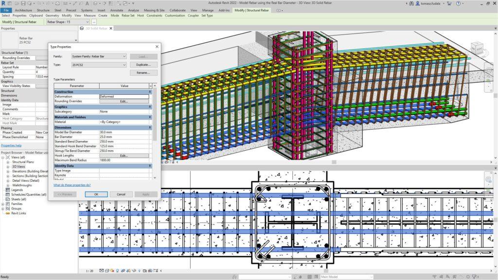 Реальний діаметр арматурного стрижня в Revit 2022