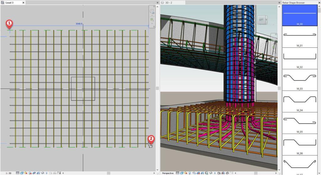 Розміщення арматурних стержнів за двома точками в Revit 2022