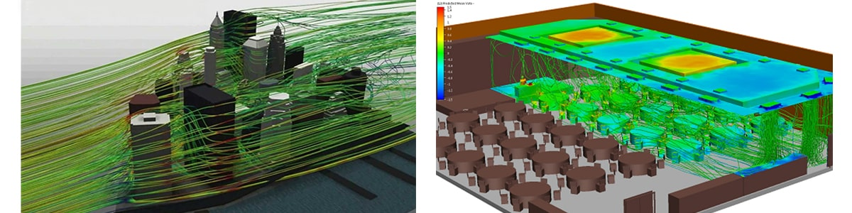 Autodesk CFD. Аналіз вітрових навантажень. Симуляція розподілу потоків повітря в приміщенні
